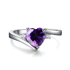 10 Colors Heart-shaped Sapphire Wedding Promise Ring White Gold Jewelry Size6-11
