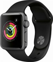 Apple Watch Series 3 38mm GPS Space Gray Aluminum Black Sport Band MQKV2LL/A