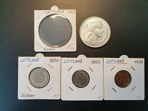 1931 5 Lati Silber gute vorzügliche Erhaltung & 3 Münzen 1922-1939 Lettland #7