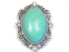 "1 - 2 HOLE SLIDER BEAD FOCAL 1 3/4"" CONCHO FEATHERS TURQUOISE CABS & CRYSTAL"