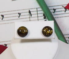 Genuine Baltic Amber Earrings With 925 Sterling Silver Post, 10MM Round. AMER009