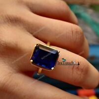 2.00 CT Emerald Cut Blue Sapphire 14K Yellow Gold Over Wedding Engagement Ring
