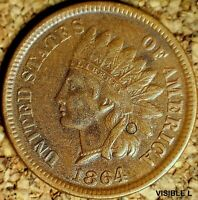 1864-L Indian Head Cent - XF+ SNOW-5b REPUNCHED DATE, GREAT PRICE  (K692)