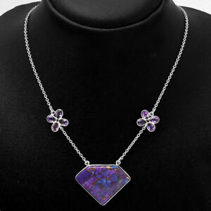 Copper Purple Turquoise and Amethyst 925 Sterling Silver Necklace Jewelry E610