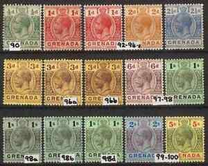 Grenada GV 1913-22 short set no 10s value SG 90-100 Mint Hinged cat 58.00 gbp