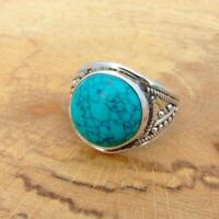Turquoise Howlite filigree 925 Silver Ring UK Size Q 1/2-US 8 1/2 Ethnic
