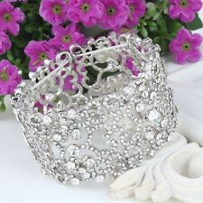 Silver Bridal/Bridesmaid Adjustable Austrian Crystal Bracelet Bangle Jewellery