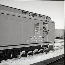 US Mail Railway Post Office Rail Car - Vintage B&W Railroad Negative - c1950s