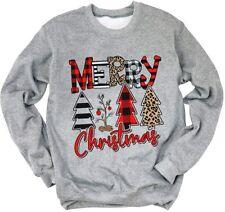 Trees Buffalo Plaid Red White Leopard Merry Christmas T-Shirt S-5XL Sweatshirt