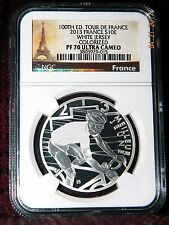 """2013 FRANCE 10 EURO 100TH TOUR DE FRANCE """"WHITE JERSEY"""" SILVER COIN  NGC PF70 UC"""