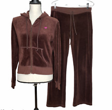 Lilly Pulitzer Small Track Suit Full Zip Hoodie Pockets Pants Brown Velour