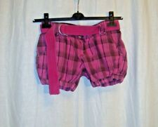Ladies FISHBONE pink checked tartan belted shorts sz XS great con LOVELY