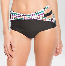 Women's Vanilla Beach triangle black Printed Swimwear Bikini Bottom Medium New