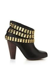 Betsey Johnson Concert Black Gold Studded Leather Ankle Boots Size 8.5 M 💟