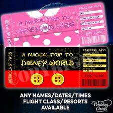 Disney Ticket Flight Boarding Pass Paris Florida Mickey Mouse Minnie Disneyland