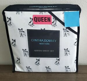 Cynthia Rowley Dog White/Black Queen Sheet Set  Bulldog/Boston Terrier