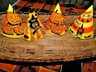 4  Vintage Halloween Party Costume Paperboard HATS  Witch Cats JOL Decoration