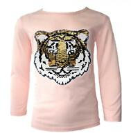 GIRLS EMOJI EMOTICONS TIGER FACE TOPS TEE TOP BRUSH CHANGING SEQUIN NEW AGE 3-14