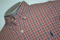 9095-a Mens Polo Ralph Lauren Dress Shirt Size Large Custom Fit Red Plaids