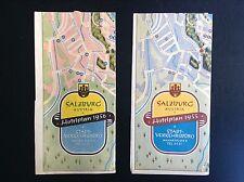 Rare 2 anciens dépliants Brochures Hotelplan Salzburg Autriche 1955 1956