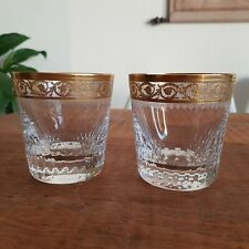 2 St. Saint Louis Thistle Gold/Or Old Fashioned Tumbler Whiskygläser signiert