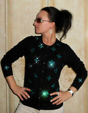 LUXE OH `DOR® 100% Cashmere Women Cardigan black turquoise crystals Gr 48/50 XL