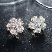 18k yellow gold gf made with SWAROVSKI crystal huggies flower earrings
