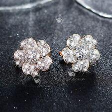 18k yellow gold gf made with SWAROVSKI crystal huggies flower earrings