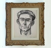 MAURICE GENIS (1925-2013) PORTRAIT D'HOMME OEUVRE FAUVISTE 1945 (474)