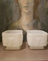2 White Milk Glass Square Footed Candy Dish Vintage