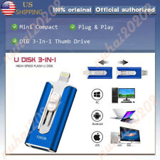 64/512GB OTG USB Flash Drive Memory Photo Stick 3 In 1 Pendrive For iPhone iPad