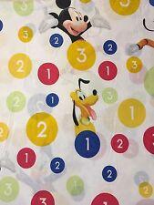 "Disney Mickey Mouse Twin Flat Sheet 60x92"" Goofy Donald 123 Circles Numbers"