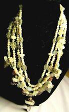 Multi Strand Pearls,Labradorite,Fluorite,Moonstone-Fruit Salad-Leaves-Necklace
