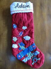 Pottery Barn Kids Gingham Quilted Airplane Christmas Stocking Red ASHTON