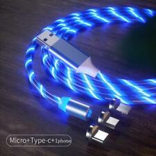 1M Led Fluid Light Magnetic Charger Cable Glow Fast Charging Micro USB Type C