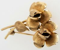 Rose Design Broach 9CT Yellow Gold