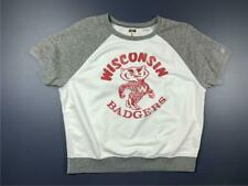 WISCONSIN Badgers Sweatshirt NCAA Tailgate 100 Cotton Off White Large