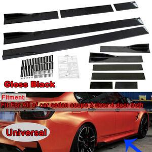 """86""""x5.3"""" Universal Black Car Side Skirt Rocker Splitters Winglet Wings Protector"""