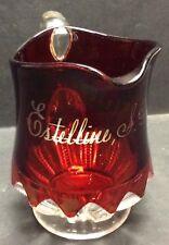 Vintage Ruby Glass Estelline, South Dakota Souvenir Pitcher