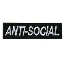 Anti-Social Iron On Patch Embroidered Sew On Punk DIY Gothic Black