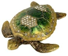 Green Sea Turtle Shaped Trinket Jewelry Box with Matching Pendant & Necklace