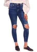 FREE PEOPLE High Waist Skinny Ankle Torn Knee Rip Jean, Dark Wash - Size 28