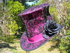 BLACK & PINK LEATHER & LACE WOMENS GOTHIC STEAMPUNK BURLESQUE LADIES' TOP HAT