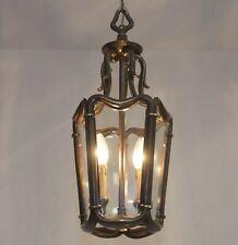 Rare! Antik Art Deco Bronze Messing Laterne Um 1920 RESTAURIERT Led Hängelampe