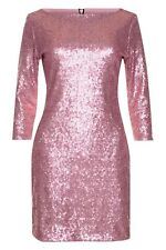 TFNC Pale Candyfloss Pink Sequin Bodycon Mini Party Dress - Size M 10 12