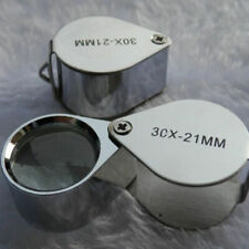 1PCS 30X 21mm Folding Jeweller Loupe Magnifier Magnifying Glass Eye Len With Box