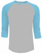 3/4 Sleeve Plain Baseball Raglan T-Shirt Tee Mens Jersey Gray Light Blue L