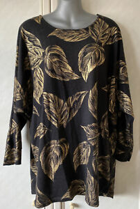 Made In Italy Black Jumper Top With Gold Print Size XL