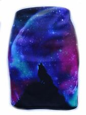Galaxy Wolf Mini Skirt - Size 12 14 - Bodycon Animal Wild Nature Winter