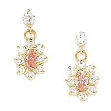 Women/Children Elegant 14K YG Pink Tourmaline Birthstone Flower Dangle Earrings